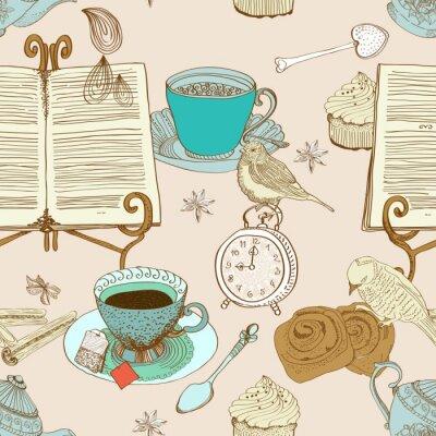 старинные утренний чай фон, бесшовные шаблон для дизайна