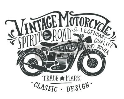 Картина Урожай мотоцикл. Ручной обращается гранж старинные иллюстрации с ручной надписи и ретро велосипед. Эта иллюстрация может быть использован в качестве печати на футболках и сумках, стационарные или как