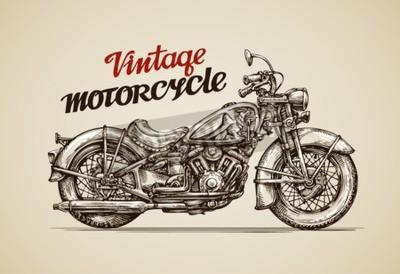 Картина Урожай мотоцикл. Ручной обращается векторные иллюстрации мотоцикл