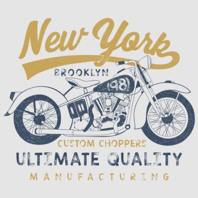 Картина старинных мотоциклов эскиз иллюстрации с типографики