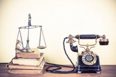 Картина Урожай старый телефон, весы с часами и деньгами, книгами