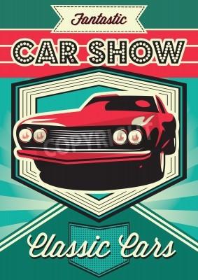 Картина Винтажный плакат для выставки автомобилей