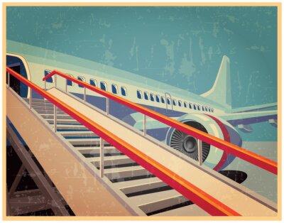 Картина Старинные плакат с самолетом