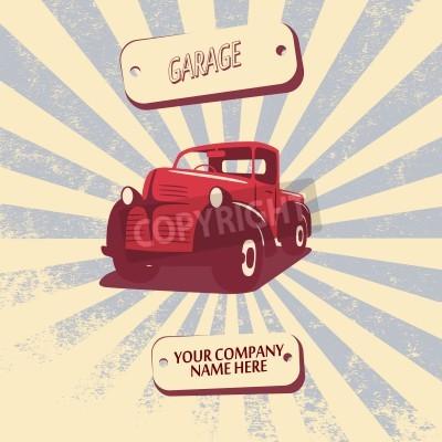 Картина Vintage ретро пикап автомобиль автомобиль векторные иллюстрации, подходящие для продвижения, дизайн футболки и т. Д.