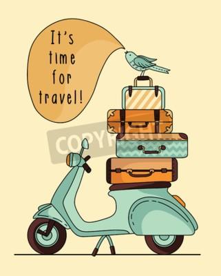 Картина Дизайн винтажного скутера. Скутер с багажом
