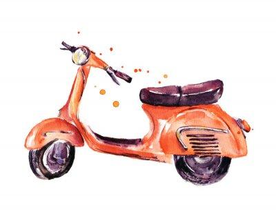 Картина Урожай скутер, акварель иллюстрации, изолированных на белом