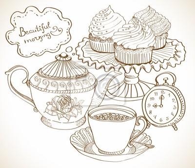 урожай фон чай, набор для завтрака
