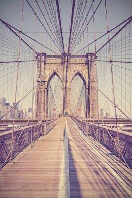 Картина Урожай тонированное фото Бруклинский мост, Нью-Йорк, США.