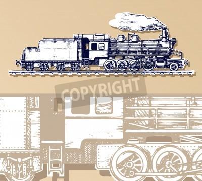 Картина старинный поезд.