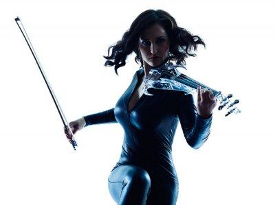 Картина Violinist woman slihouette isolated