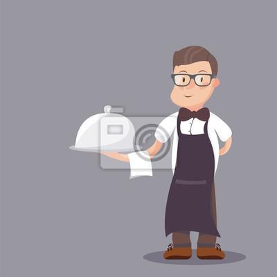 Официанта подают еду под серебряной Клош иллюстрации. Классный официант в бантика, где подают блюда в блюдечке с крышкой. Плоский стиль иллюстрации.