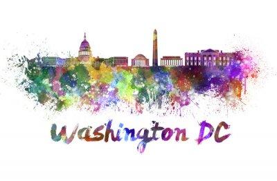 Картина Вашингтон горизонта акварелью