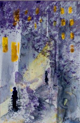 Картина Акварель абстрактный городской пейзаж