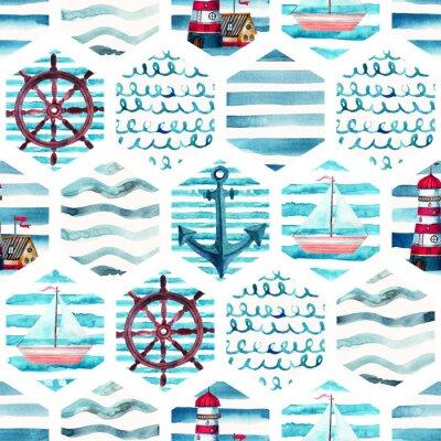 Картина Акварель приключений бесшовные модели в лоскутное морском стиле.