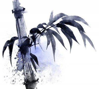 Картина Акварель и чернила Иллюстрация бамбука с цветными водяными струями. Восточная традиционная живопись в стиле sumi-e, u-sin. Художественная иллюстрация.