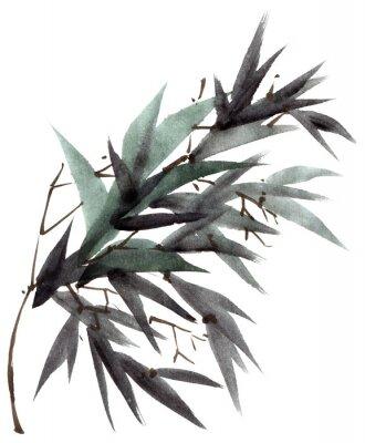 Картина Акварель бамбуковые листья ветка