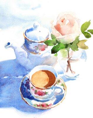 Картина Акварель Чашка кофе и роза в вазе рисованной натюрморт иллюстрация еда и напитки фон