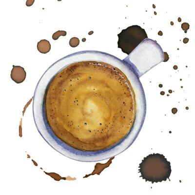Картина Акварельная чашка кофе эспрессо с пятнами и кофейными кругами вокруг, вид сверху.
