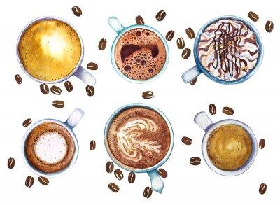 Картина Акварель чашки кофе, изолированных на белом фоне с кофе в зернах, вид сверху.