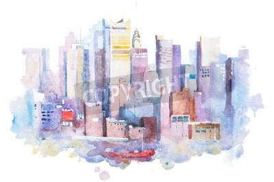 Картина акварель рисунок городской пейзаж Нью-Йорк, США. Manhattan акварелью картины.