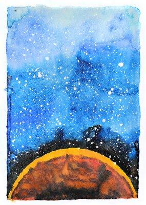 Картина Акварели галактики иллюстрации. Планета Марс.