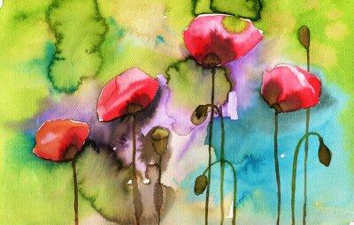 Картина акварель иллюстрации, изображающие весенние цветы на лугу