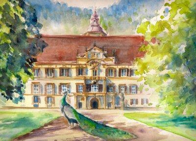 Картина Акварель иллюстрация павлина в парке и фасад замка Eggenberg в Граце, Штирия, Австрия