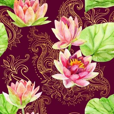 Картина акварель цветок лотоса на золотой орнамент. Бесшовные