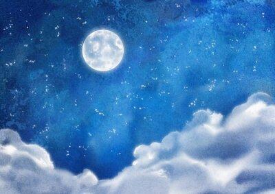 Картина Акварельные Ночные облака