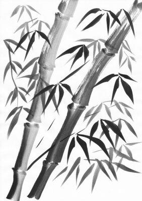 Картина Акварель из двух бамбуковых стеблей, окрашенных гранями. Черная гуашь на белом фоне.