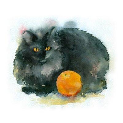 Картина Акварельная живопись. Черная кошка с оранжевым.