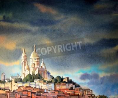 Картина Акварельная живопись Монмартре, в городе Париж, Франция.