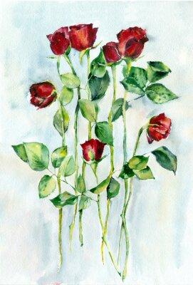 Картина Акварельная живопись. Красные розы с зелеными листьями на длинных стеблях.