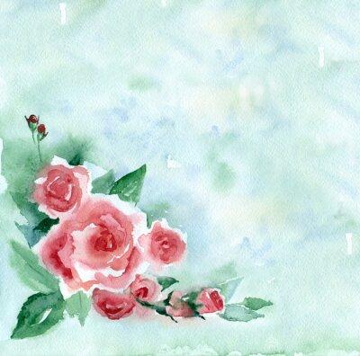Картина Акварельная живопись. Урожай букет из красных роз на зеленом фоне размытым.