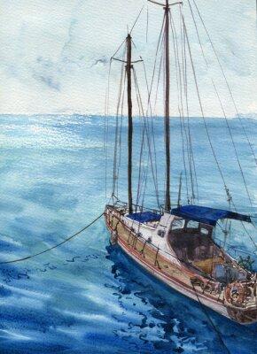 Картина акварель морской пейзаж с лодки