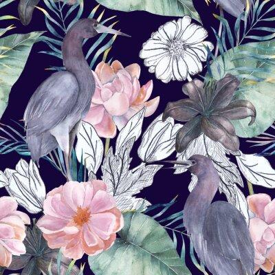 Картина Акварельный бесшовный узор с чернильными элементами. Экзотические птицы и цветы. Рисованная иллюстрация
