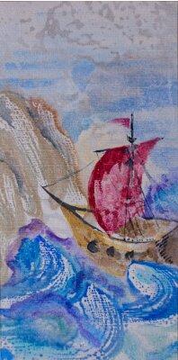 Картина Акварели морской пейзаж с кораблем плавания в бурном море к локальной сети