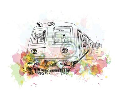 Картина Акварельный эскиз Мумбайского местного поезда в векторной иллюстрации.