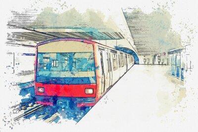 Картина Эскиз акварели или иллюстрация метро в Лиссабоне в Португалии. Традиционный поезд метро на станции метро