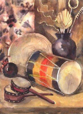 Картина Акварельный натюрморт с барабаном