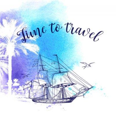 Картина Акварельный фон путешествия