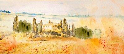 Картина Watercolor Tuscany. Countryside landscape