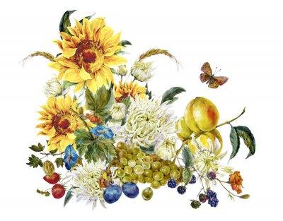 Картина Акварель старинные карты с хризантемами, фрукты, подсолнечник