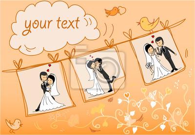 Свадебные фотографии висят на веревкеru