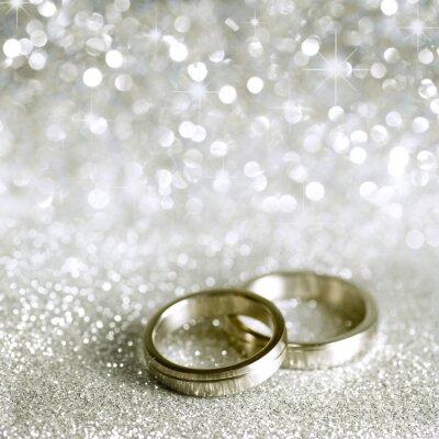 Картина Обручальные кольца и звезды в серебре