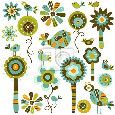 фантазии цветы и птицы