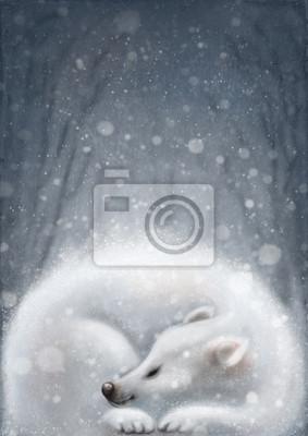 White bear sleeping