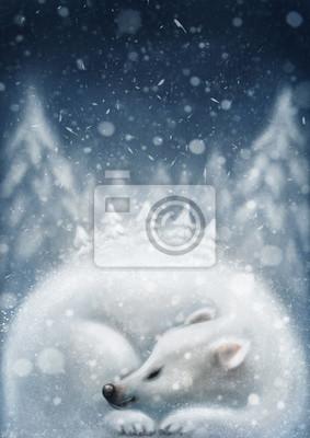 Белый медведь спит