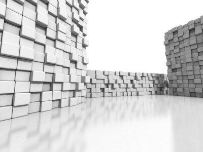 Картина Белые кубики стены 3d фон
