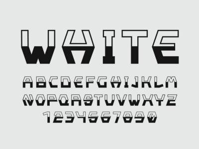White font. Vector alphabet